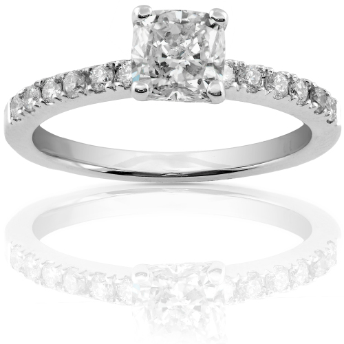 Cushion Cut Diamond Ring in 14k White Gold 1 1/4ct TW